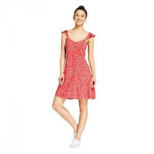 NWT Mossimo Floral Button Front Dress Small Red